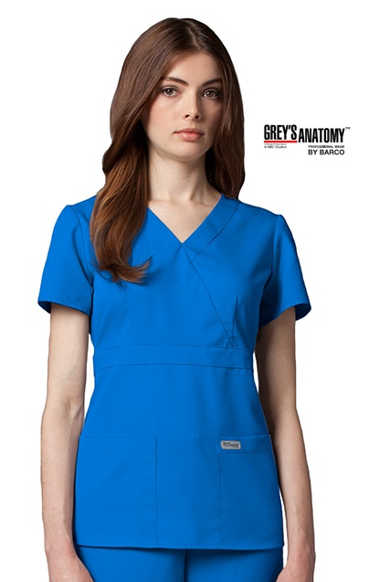 Junior Grey S Anatomy 3 Pocket Mock Wrap Scrub Top