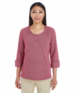 Ladies Cotton Blend Mélange Three-Quarter Sleeve Shirt