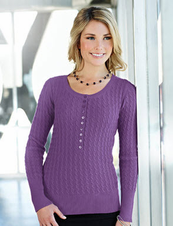 Ladies Cotton Cable Long Sleeve Henley Sweater (Discontinued may NOT be returned or exchanged)