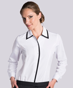 Ladies Hostess Black Trim Blouse