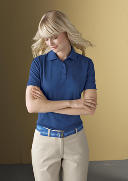 Ladies Jacquard Moisture Management Pique Polo
