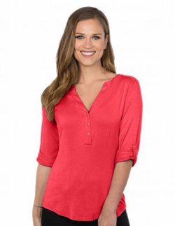 Ladies Restaurant Y-Neckline 3/4 Sleeve Knit Blouse