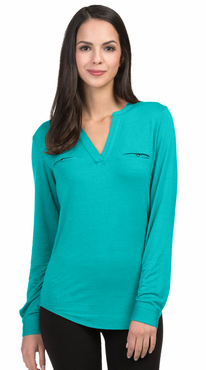 Ladies Split Neck Jersey Knit Server Blouse