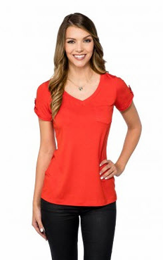 Ladies Stretch Server V Neck Blouse