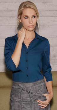 Ladies Three Quarter V-Neck Stretch Restaurant Blouse (WA34BLK)
