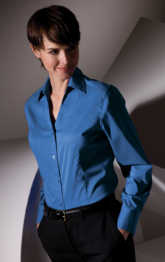 Ladies Ultimate Long Sleeve V-Neck Tailored Stretch Restaurant Blouse