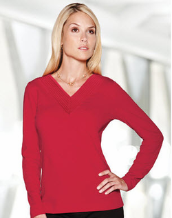 Ladies V-Neck Cocktail Blouse (Discontinued may NOT be returned or exchanged)