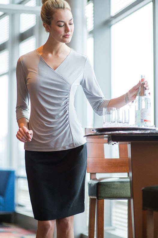 Ladies Waitress Sleeve Crossover Cocktail Blouse