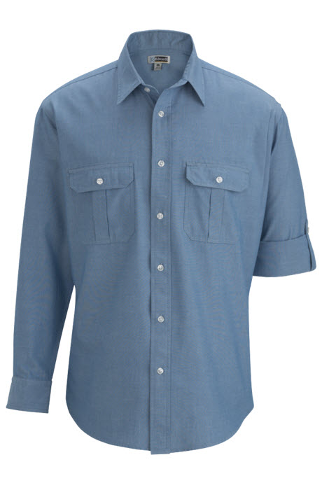 72a3e1cf ... Men's Roll-Up Chambray Waiter Shirt with Pleated Pockets