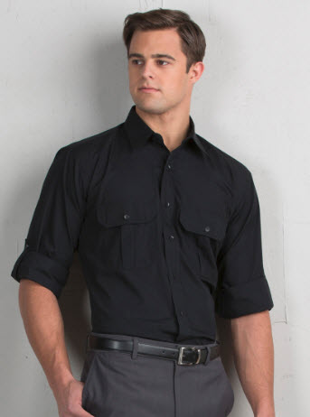 2f59d5b7bf599 Men s Roll-Up Waiter Shirt with Pleated Pockets