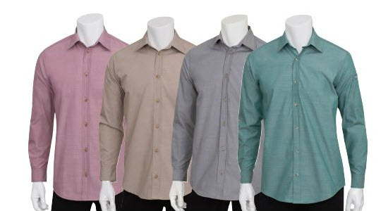 c7441b5a ... Men's Server Colored Wrinkle Resistant Roll-Up Chambray Shirt ...