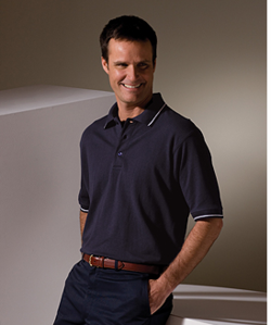 Men's Soft Touched Tipped Blended Pique Polo