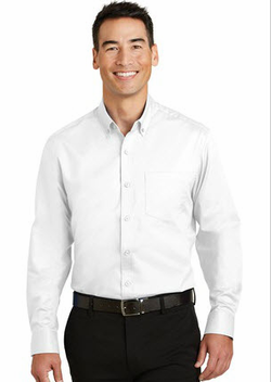 Men's Stain and Wrinkle Resistant Long and Short Sleeve Twill Shirt