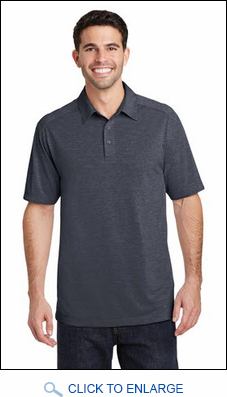Mens Server Three Button Moisture Wicking Heather Polo