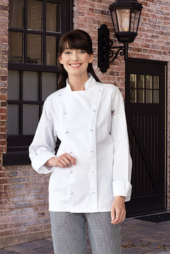 Mirage 65/35 Poly/Cotton Chef Coat with 12 Cloth Knot Buttons