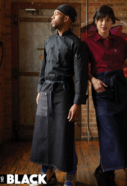 Patch Pocket with Pencil Insert and Black Ties Denim Waitstaff Aprons