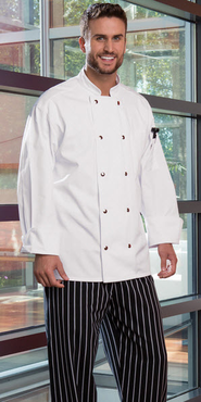 Reaction Ten Stainless Steel Snap Button Poly Cotton Chef Coat