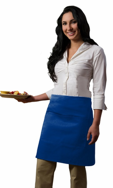 Royal Blue Half Bistro Apron BLOW OUT SALE (Minimum Purchase of 12 - May NOT be returned or exchanged)