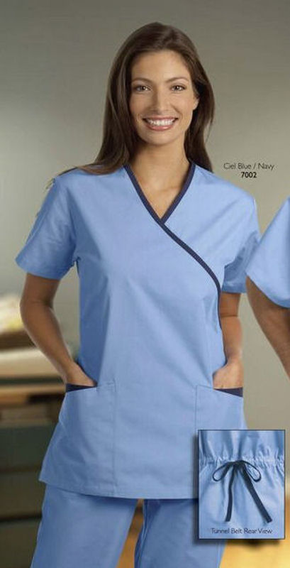 Cross over spa tunic women s spa uniforms for Spa uniform tops