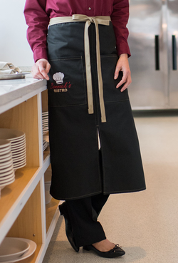 Split Bistro Color Blocked Apron with Two Patch Pockets