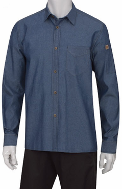 Unisex Denim Roll-Up Restaurant Server Shirt