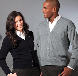 Unisex V-Neck Cardigan No Pockets