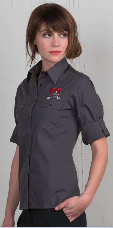 Women s roll up waitress shirt for How to roll up sleeves on women s dress shirt
