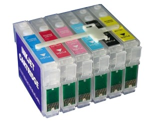 Refillable cartridges for Epson Stylus Photo R260/R380/RX580 Printer