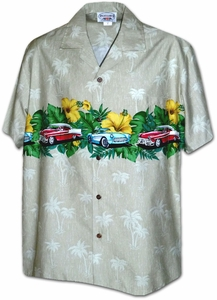 Antique Cars<br>Mens Hawaiian Shirts<br>Matching chest pocket<br>100% Cotton<br>