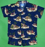 Surfboards Hawaii<br>Boy's Hawaiian Shirt<br>and Matching Pants<br>100% Cotton<br>