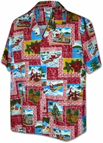 Christmas Hawaiian Shirt<br>Santa Shirt<br>Matching chest pocket<br>100% Cotton<br>