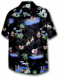 Christmas Holiday Santa<br>Men's Hawaiian shirts<br>Matching chest pocket<br>100% Cotton<br>