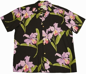 Double Orchid<br>Men's Hawaiian shirts<br>Matching chest pocket<br>100% Rayon<br>