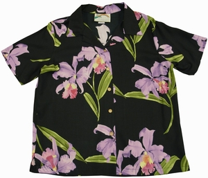 Double Orchid<br>Womens Hawaiian Shirt<br>100% Rayon<br>
