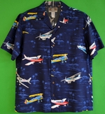 Fighter Plane<br> Hawaiian Aloha Shirt<br>Matching chest pocket<br>55%Cotton/45%Rayon<br>