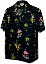 Flamingo<br>Mens Hawaiian Shirts<br>Matching chest pocket<br>100% Cotton<br>