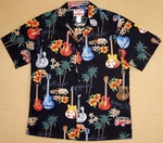 Guitars Tropical Shirts<br>Mens Hawaiian Shirts<br>Matching Chest Pocket<br>100% Cotton<br>