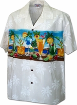 Happy Hours<br>Men's Hawaiian shirts<br>Matching chest pocket<br>100% Cotton<br>
