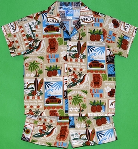 Hawaii Paradise<br>Boy's Hawaiian Shirt <br>and Matching Pants<br>100% Cotton<br>