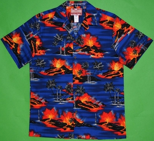 Hawaii Volcano<br>Hawaiian Shirts<br>Matching chest pocket<br>100% Cotton<br>