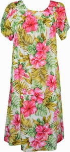 Tropical Hibiscus<br>Hawaiian Muumuu Dress<br>100% Cotton<br>
