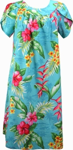 Flower Paradise<br>Hawaiian Muumuu Dress<br>100% Cotton<br>