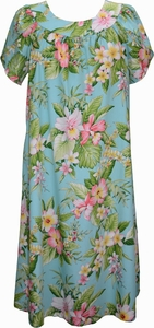 Aloha Hibiscus<br>Hawaiian Muumuu Dress<br>100% Cotton<br>
