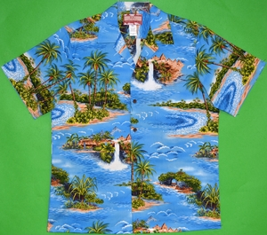 Hawaii's Island Paradise<br>Men's Hawaiian shirts<br>Matching chest pocket<br>100% Cotton<br>