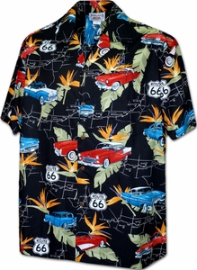 U.S. Route 66<br>Men's Hawaiian shirts<br>Matching chest pocket<br>100% Cotton<br>