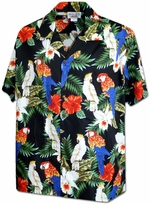 Lovers parrots<br>Men's Hawaiian shirts<br>Matching chest pocket<br>100% Cotton<br>