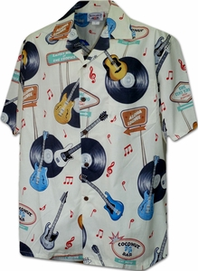 Rock n' Roll<br>Men's Hawaiian shirts<br>Matching chest pocket<br>100% Cotton<br>