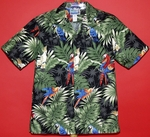 Tropical Parrot<br>Men's Hawaiian shirt<br>Matching chest pocket<br>100% Cotton<br>