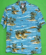 Island Paradise<br>Men's Hawaiian Shirt<br>Matching chest pocket<br>100% Rayon<br>
