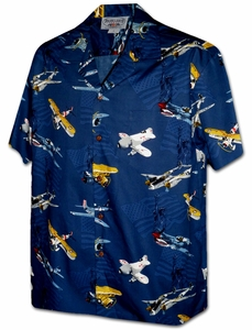 Fighter Plane<br>Hawaiian Shirts<br>Matching chest pocket<br>100% Cotton<br>
